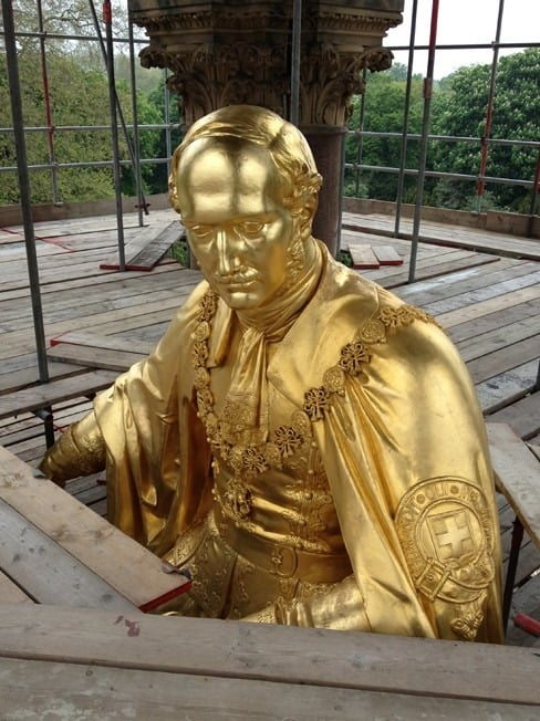 Restoration of sculptures at Albert Memorial, hot waxing, re-gilding and sculptural conservation