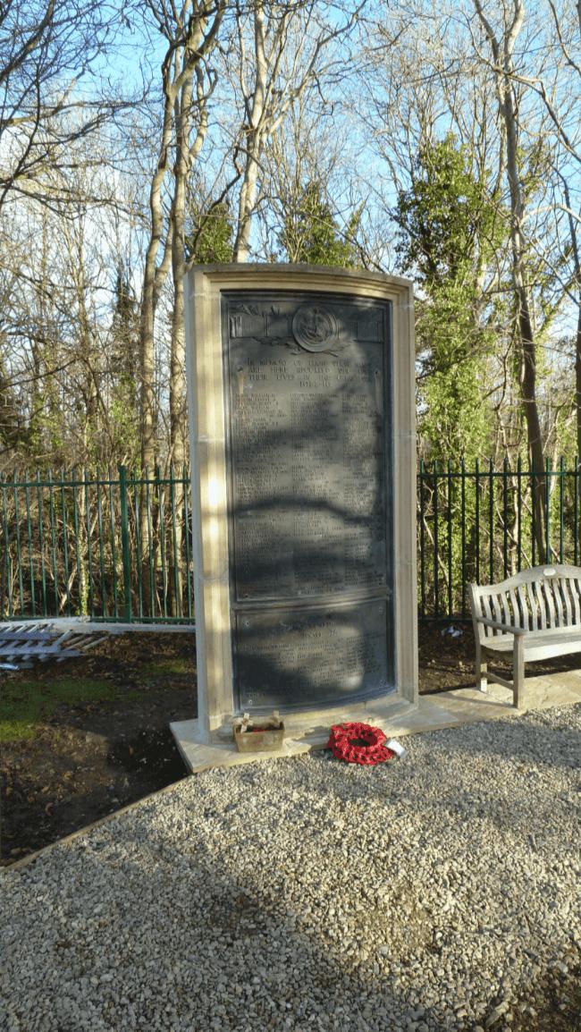 Somerdale war memorial before bronze restoration